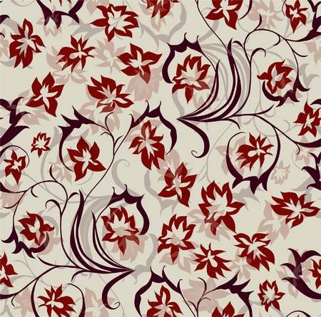 seamless floral pattern in red violet colors Vector