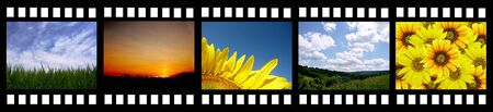 film set: film strip with beautiful nature photos