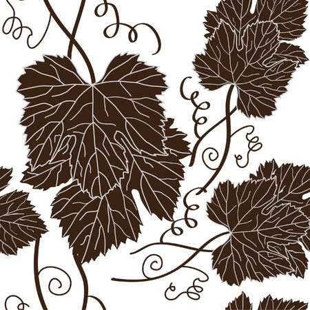 seamless pattern with beautiful grape leaves in brown white colors Vector