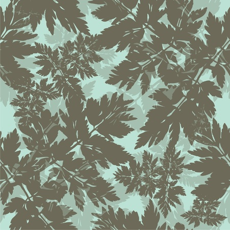 seamless pattern with abstract floral branch in blue gray colors