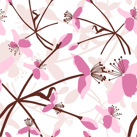 seamless pattern with beautiful pink flowers Illustration