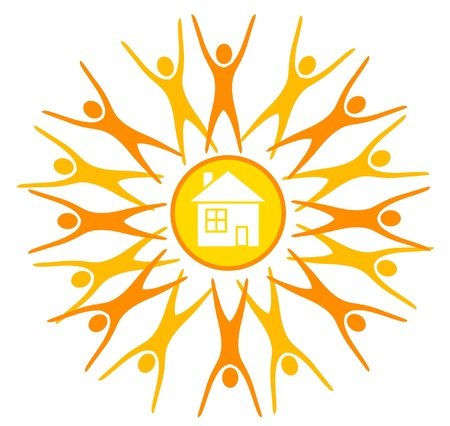solar house: abstract sun, symbol of earth life, maded by human silhouettes and a house