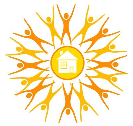 maison solaire: abstrait soleil, symbole de la vie sur terre, maded par des silhouettes humaines et d'une maison