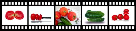 film strip with fresh and tasty vegetables photo