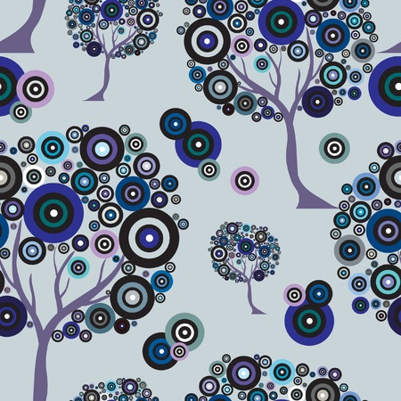 seamless pattern with abstract trees for your design Illustration