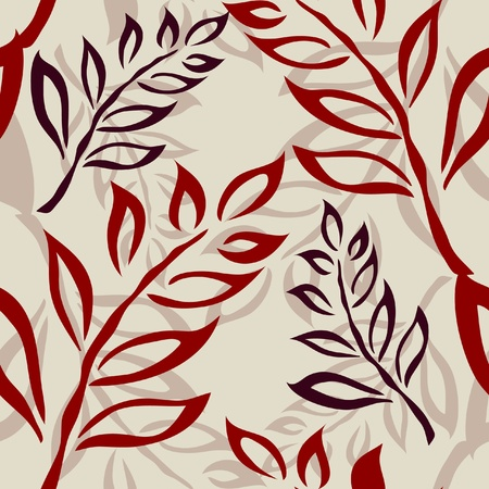 elegant seamless pattern with abstract red and violet leaves Vector