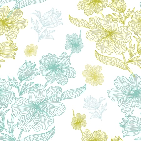 tileable background: elegant seamless pattern with beautiful flowers, in white, blue and green colors