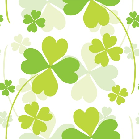 seamless pattern with abstract fourleaf clovers in white green colors