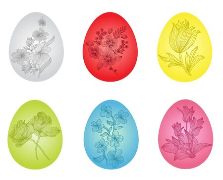 set of 6 beautiful floral eggs for your Easter design Stock Vector - 12575152