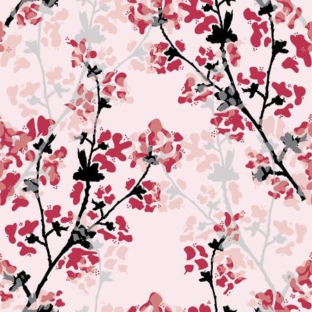 Elegáns varrat nélküli minta gyönyörű virágos ága a design Illusztráció