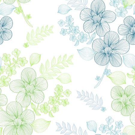 elegant seamless pattern with beautiful green and blue flowers for your design Vector