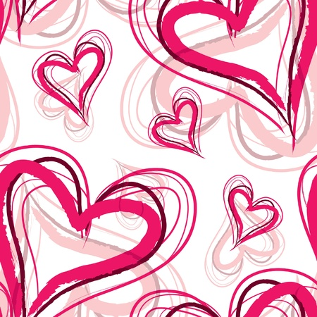 romantic seamless pattern with elegant pink hearts for your design Stock Vector - 12575117