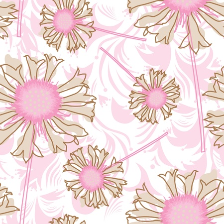 elegant seamless pattern with abstract pink flowers for your design