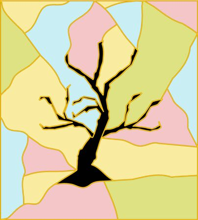 abstract artistic tree with stained glass imitation Vector