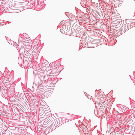 Elegáns zökkenőmentes minta rózsaszín tulipán virágok a design