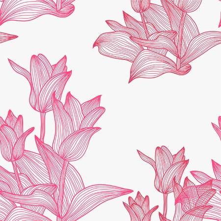 elegant seamless pattern with pink tulip flowers for your design Vector