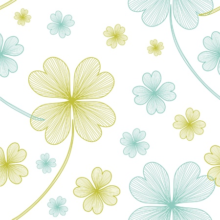 clover backdrop: seamless pattern with lucky four leaf clovers for your design Illustration