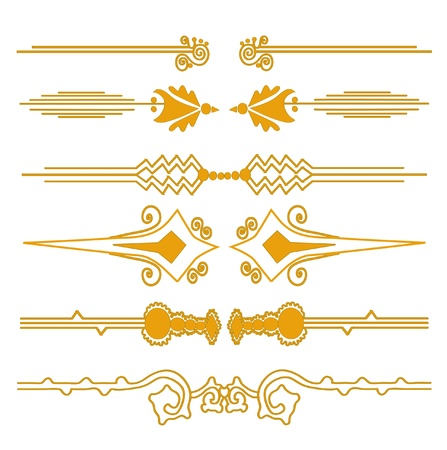 set of 6 decorative page borders in golden colors for your design Vector