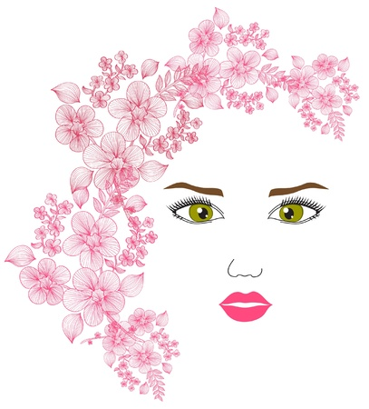 elegant fashion girl with floral hair, for your design Vector