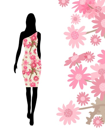 elegant fashion girl silhouette in pink floral dress for your design Vector