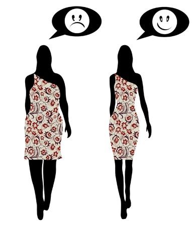 slim women: mujer elegante en vestido de flores antes y despu�s de la p�rdida de peso, para su dise�o Vectores