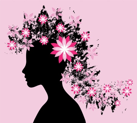 elegant fashion girl with beautiful floral hair, for your design Vector