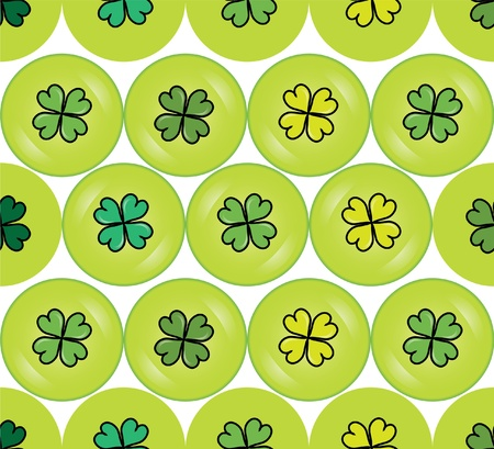 seamless pattern with four leaf lucky clover buttons for your design Vector
