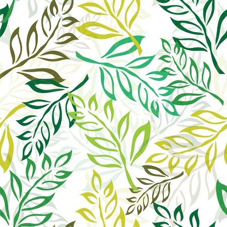 elegant seamless pattern with green leaves for your design Stock Vector - 12985766