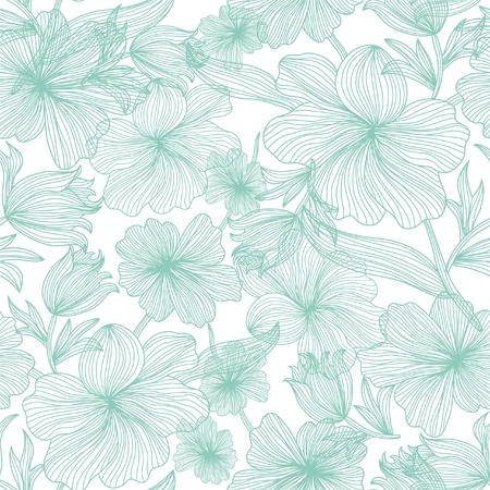 Elegáns varrat nélküli minta, gyönyörű kék virág a design