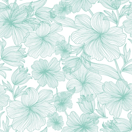 elegant seamless pattern with beautiful blue flowers for your design Stock Illustratie