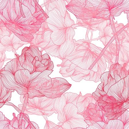 あなたのデザインの美しいピンクのバラとエレガントなシームレス パターン