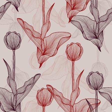 elegáns zökkenőmentes minta gyönyörű tulipán a design Illusztráció