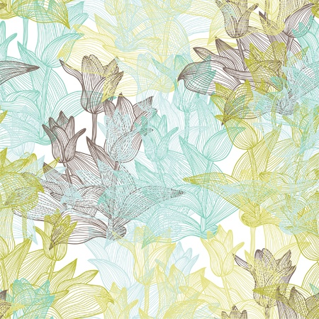 elegant seamless pattern with abstract tulip flowers for your design