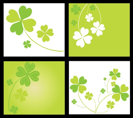 set of 4 invitations for life events with lucky four leaf clovers, in green white colors