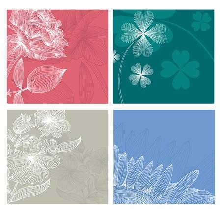set of 4 elegant floral invitations for life events