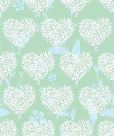 elegant seamless pattern with abstract floral hearts in soft green colors for your design Vector