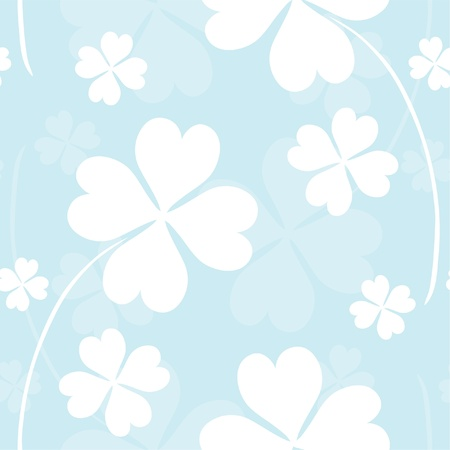 elegant seamless pattern with four leaf clovers in soft blue white colors for your design Stock Vector - 13594906