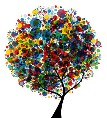 abstract multicolor tree, symbol of nature Illustration
