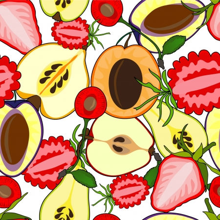 elegant seamless pattern with fruit collection for your design Vector