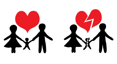 happy family and broken family icons for your design Vector