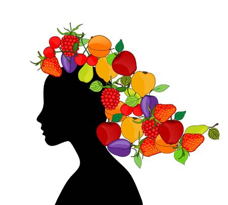 abstract girl silhouette with fruit hair Vector