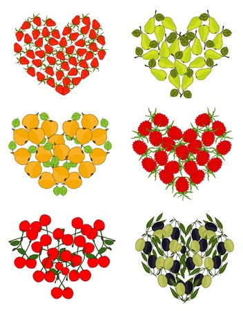 set of fruit hearts for your design Vector