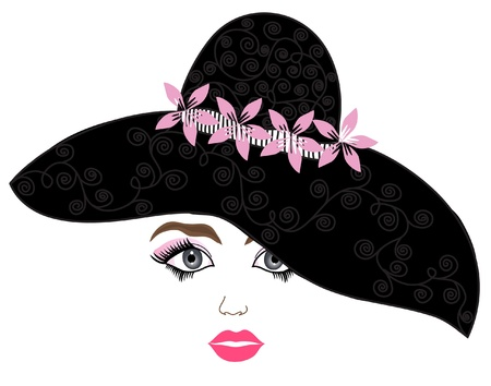 hat nude: elegant fashion girl with black hat for your design  Illustration