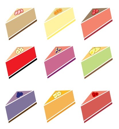 set of 9 tasty sliced cheesecakes with fruits for your design Vector