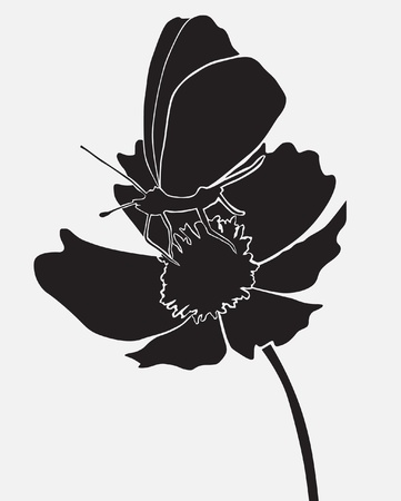 butterfly on the flower, design element Vector