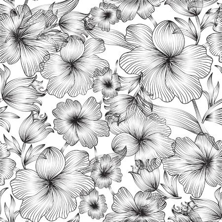 patrón elegante transparente con flores abstractas para su diseño Ilustración de vector