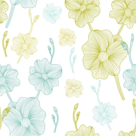 elegant seamless pattern with orchids for your design Vector