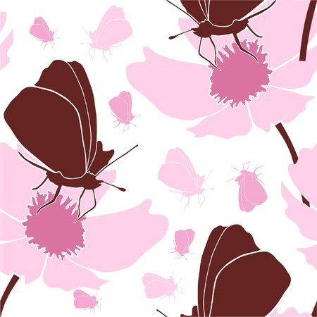 elegant seamless pattern with flowers and butterflies for your design Vector