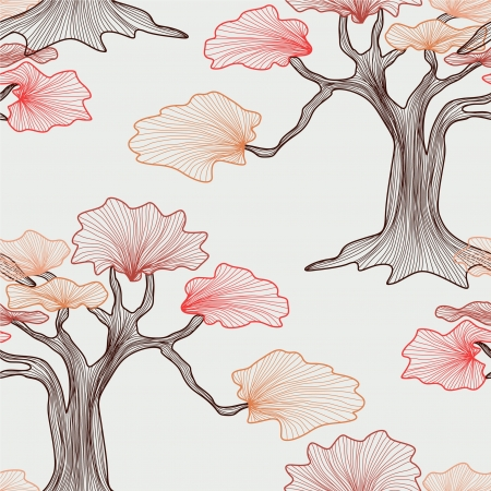 elegant seamless pattern with abstract trees for your design