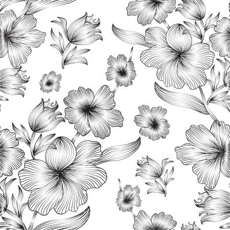 Elegáns varrat nélküli minta szürke virágok a design Illusztráció